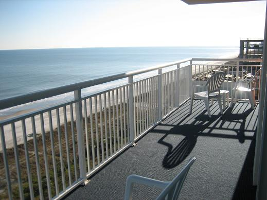 The Direct Ocean Front views from the Dunes Village Resort balcony are truly amazing! This very large Ocean Front Balcony is very accommodating