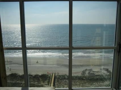 Ocean Front View From the Master Bedroom with floor to ceiling glass at Dunes Village Myrtle Beach
