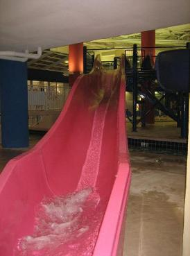 Dunes Village Resort Water Slides in the Water Park that is located on the first floor of Dunes Village in Myrtle Beach - Simply take one of the high speed elevators to the first floor and you are only steps away from the Largest indoor water park in all of Myrtle Beach SC